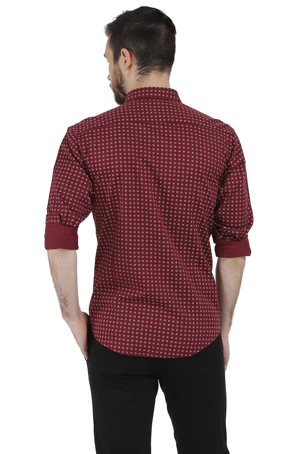 317b5c01e2 Basics Slim Fit Red Cordovan Red Printed Satin Shirt-16bsh35302