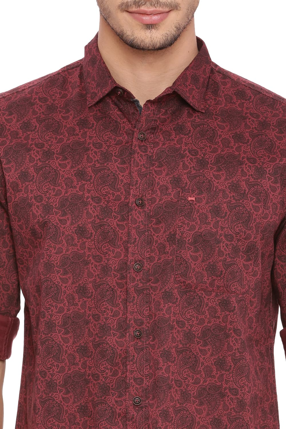 bc26e1e183 Basics Slim Fit Cordovan Red Twill Printed Shirt-18bsh39248
