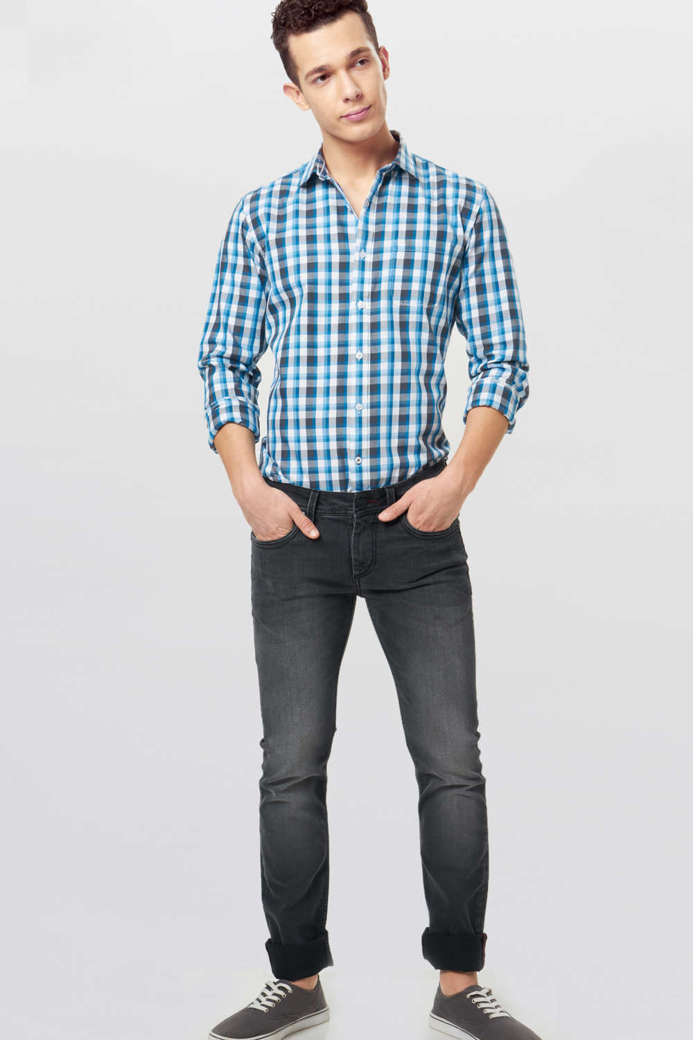 Basics Slim Fit Blue Moon Checks Shirt 16bsh34777