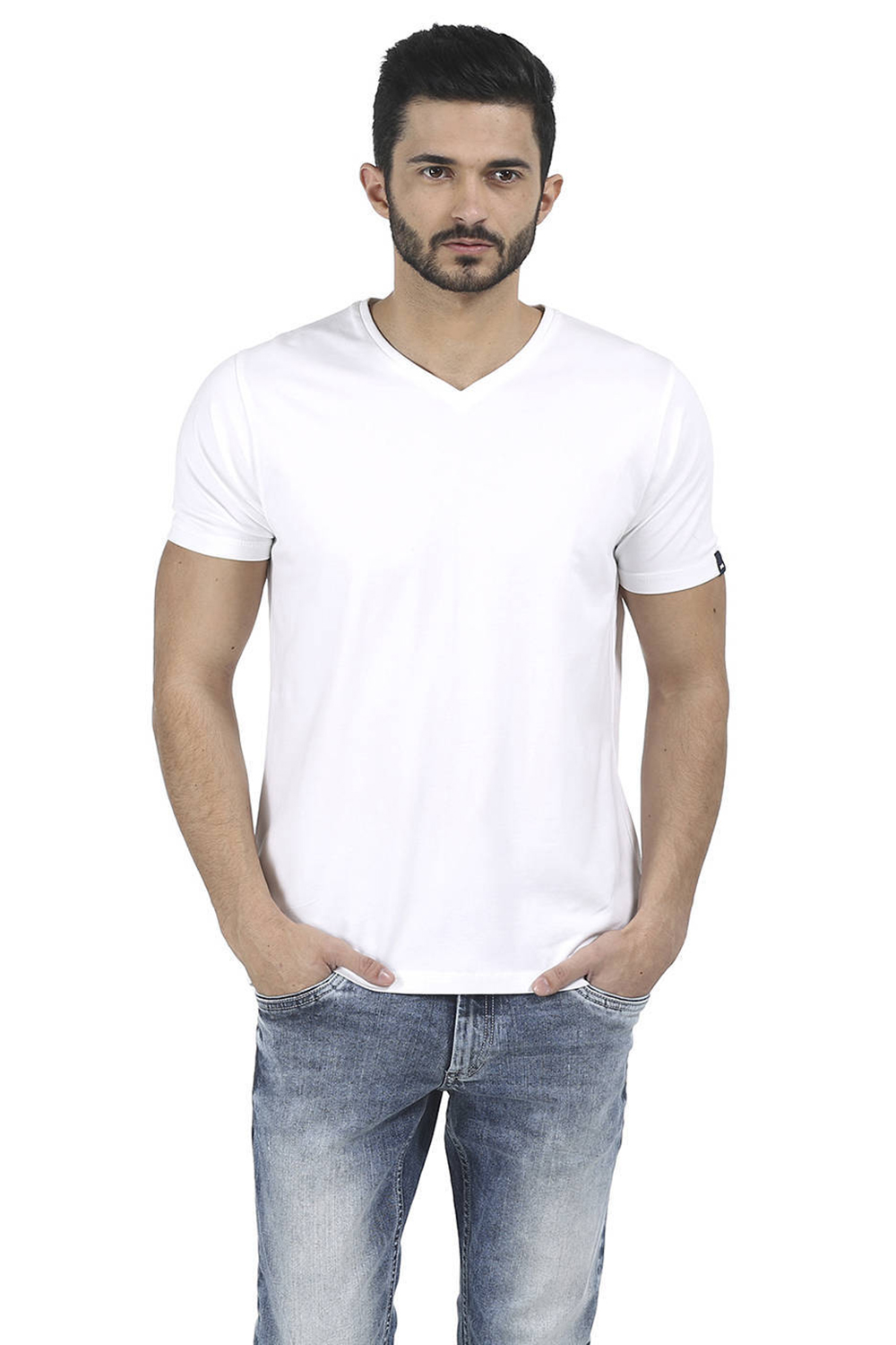 2d321ec0 Basics Muscle Fit Bright White V Neck T Shirt-16bts35318