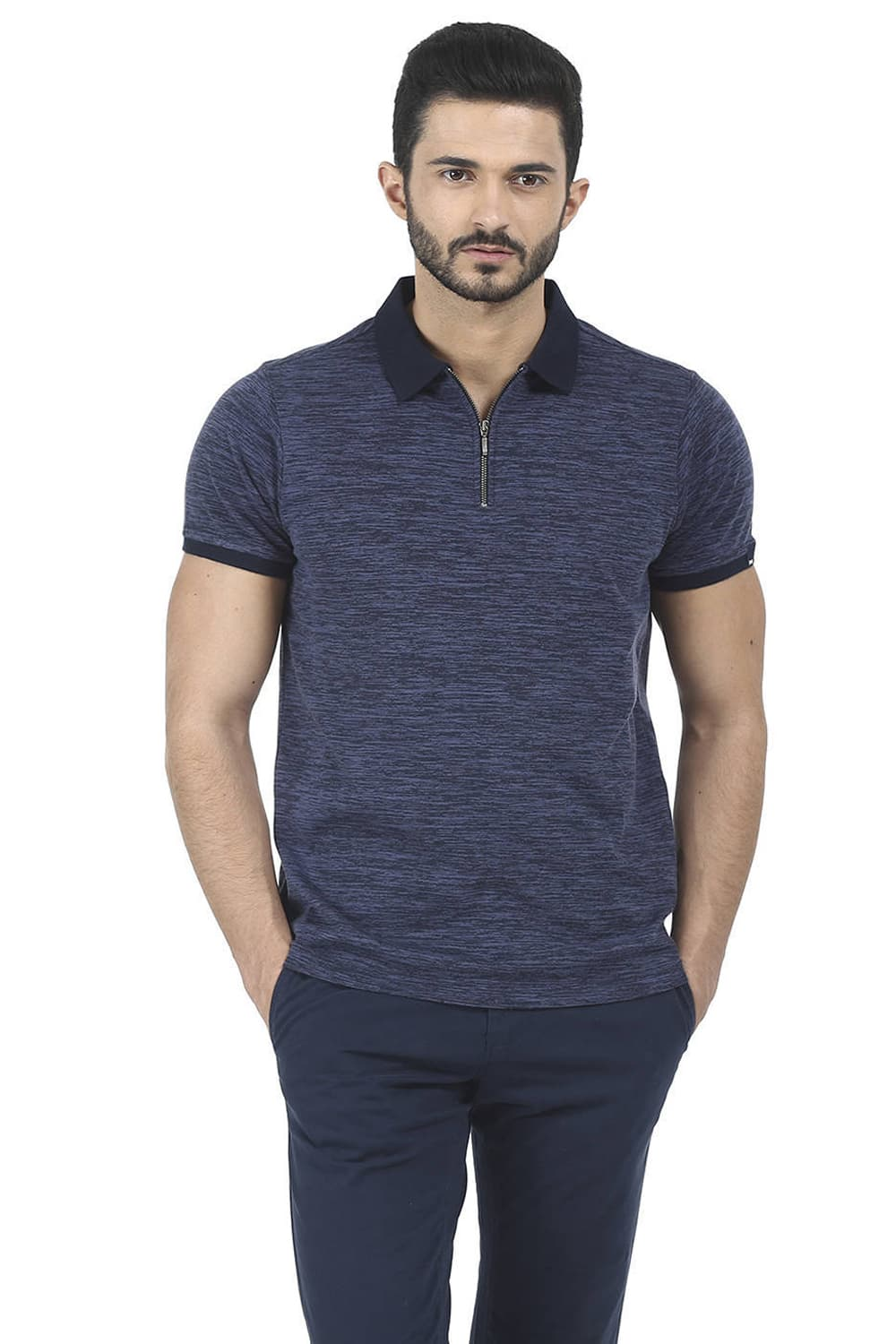 57cbb240 Basics Muscle Fit Starry Navy Polo T Shirt-16bts35426