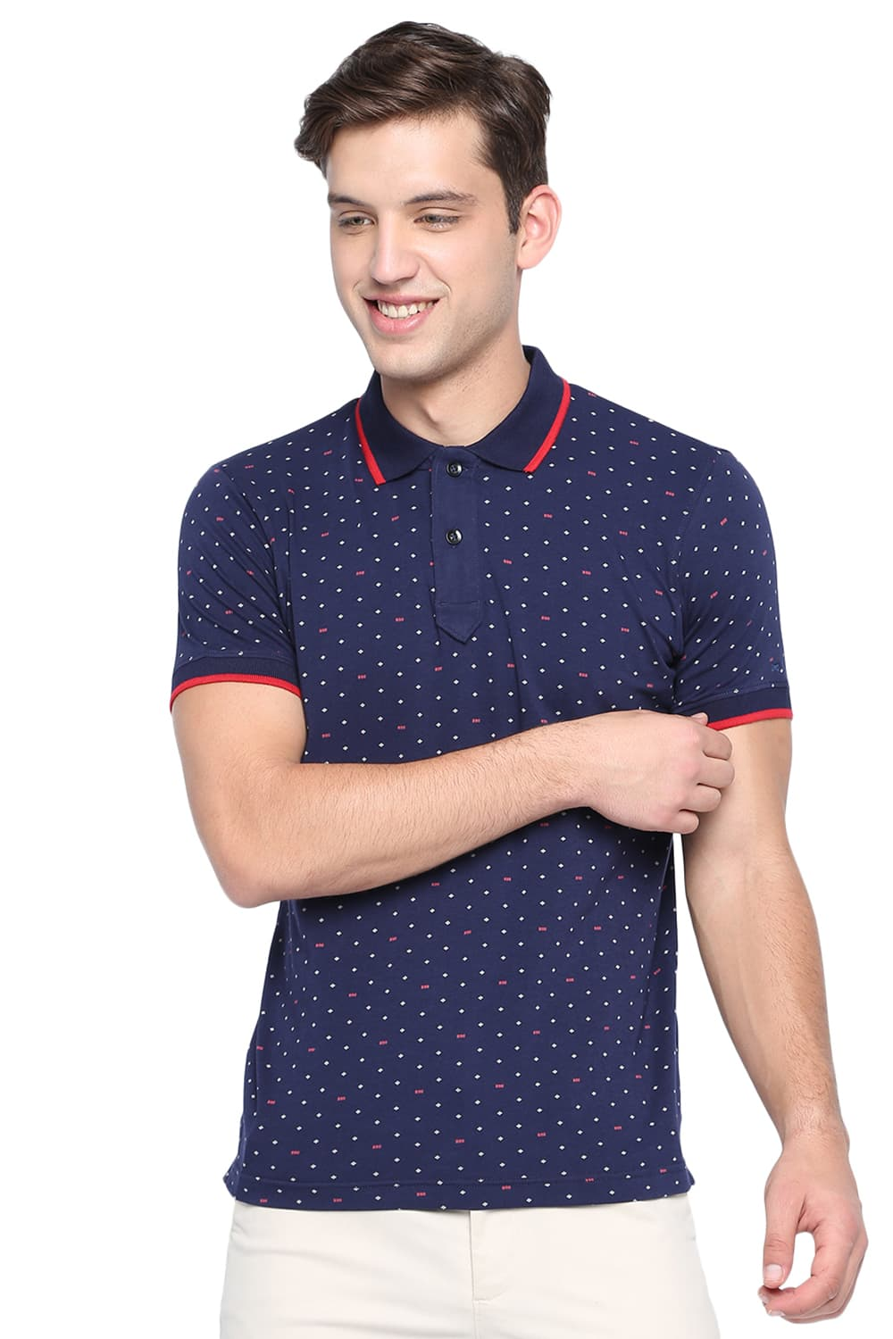 87480100a451 Basics Muscle Fit Eclipse Navy Print Polo T Shirt-19bts40886