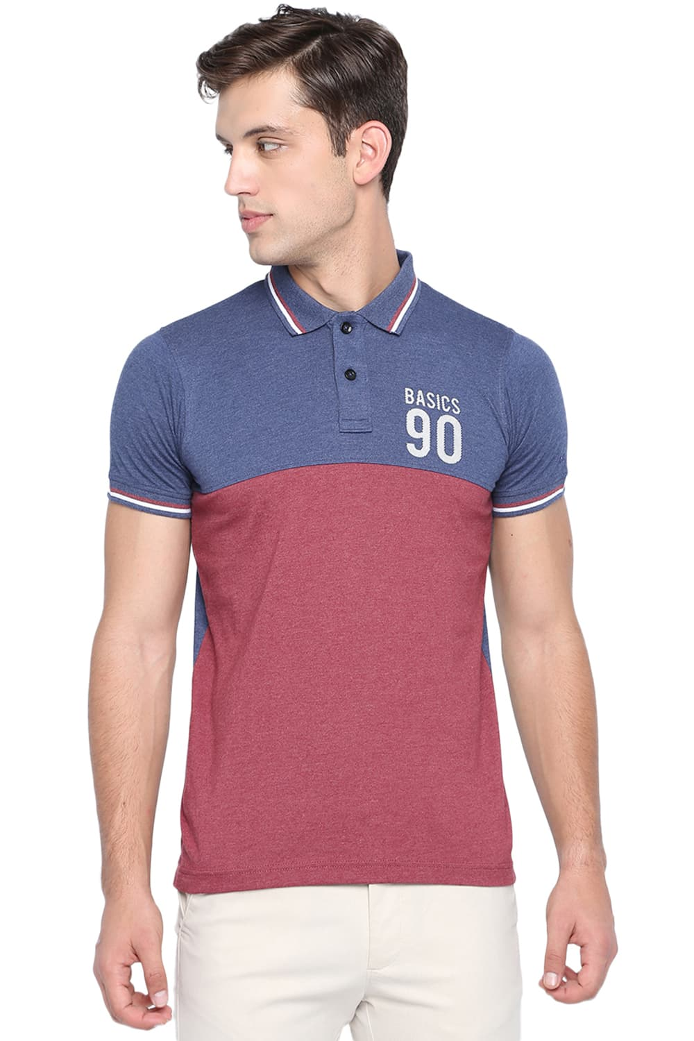 4f791d85 Basics Muscle Fit Ruby Wine Heather Polo T Shirt-19bts40890