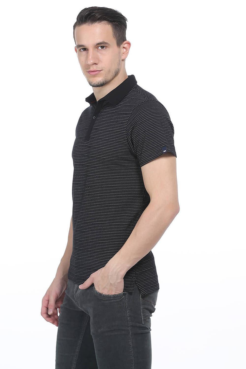 710f5a81 Basics Muscle Fit Jet Black Polo T Shirt-16bts35011