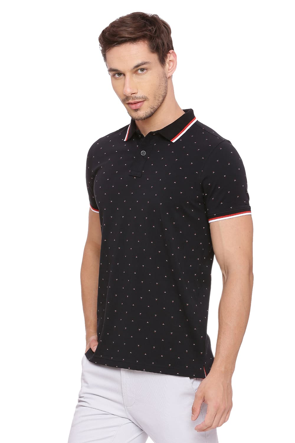 b96ade253f Basics Muscle Fit Jet Black Printed Polo T Shirt-18bts39392